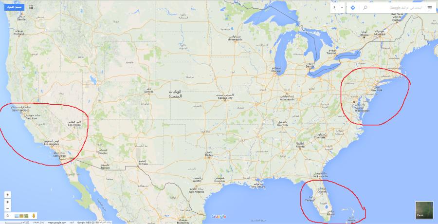 خريطة أمريكا السياحية